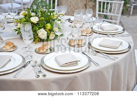 Table set for a reception in Italy
