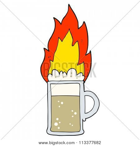 freehand drawn cartoon flaming tankard of beer