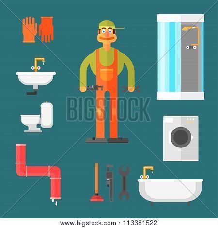 Plumber and Equipment Vector Illustration