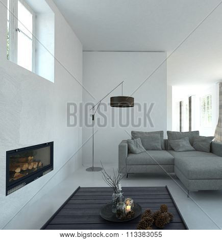 Home Interior of Modern Living Room with White Walls, Gray Sofa, Fireplace and Tasteful Decor Accents - Contemporary Floor Lamp in Spacious Living Room. 3d Rendering.