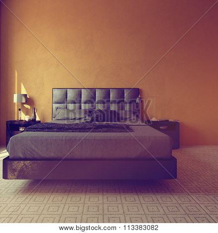 Modern luxury orange bedroom interior with a double divan style bed with padded headboard and carpet with a geometric pattern. 3d Rendering.