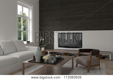Modern living room interior with a television set wall mounted on a black accent wall, modern ceramics and a comfy sofa. 3d Rendering.