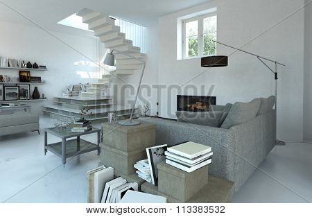 Modern cosy living room interior in grey toned decor with steps leading up to a window or door and sofa surrounded by books on cabinets and tables. 3d Rendering.