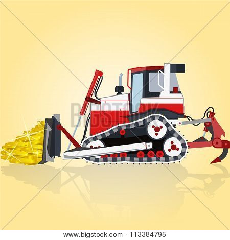 Red and white big digger builds roads. Digging of golden coins.