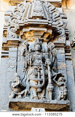 God Mahavishnu sculpture at Chennakesava temple at Belur captured on December 30th, 2015