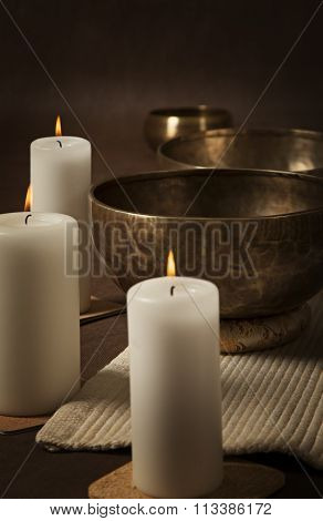 Tibetan Singing Bowls With Candles