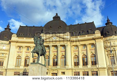 Statue of King Carol I in front of the Central University Library of Bucharest, Romania