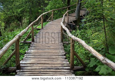 Walking Timber Bridge With Handrails