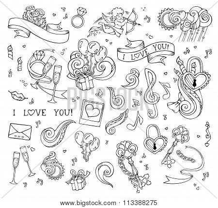 Vector Set Of Love Linear Icons Isolated On White Background.