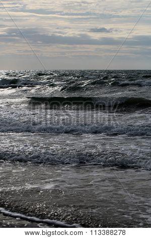 Sea Waves On Murky Day