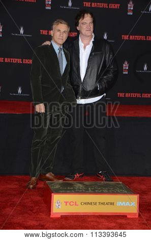 LOS ANGELES - JAN 5:  Christoph Waltz, Quentin Tarantino at the Quentin Tarantino Hand & Footprints Ceremony at the TCL Chinese Theater IMAX on January 5, 2016 in Los Angeles, CA