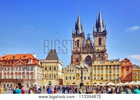 Prague,czech Republic- September 12, 2015: Church Of Our Lady(staromestske Namesti)on Historic Squar