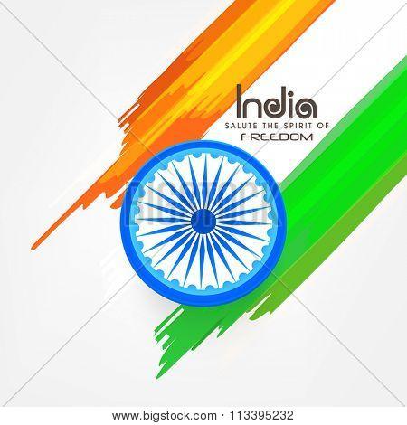 Shiny Ashoka Wheel with saffron and green colour strokes for Indian Republic Day celebration.