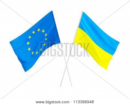 association European union and Ukraine.3d Illustrations on a white background poster