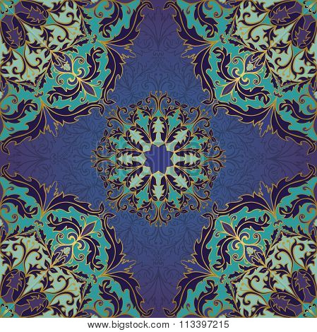 Seamless Blue Baroque Ornament.