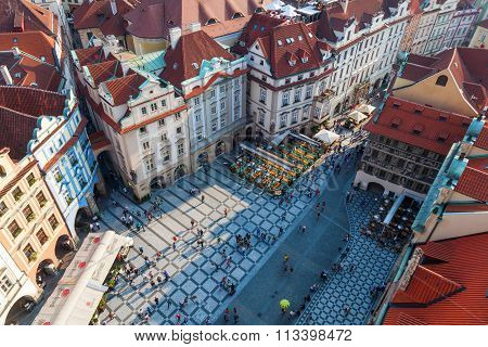 PRAGUE, CZECHIA - SEPTEMBER 04: aerial view of the old town with historical buildings and unidentified people on September 04, 2014 in Prague. The centre of Prague is protected by UNESCO.