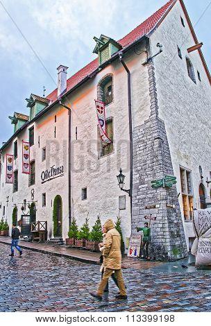 TALLINN ESTONIA - DECEMBER 28 2011: Street view to the Olde Hansa restaurant in the Old city of Tallinn in Estonia