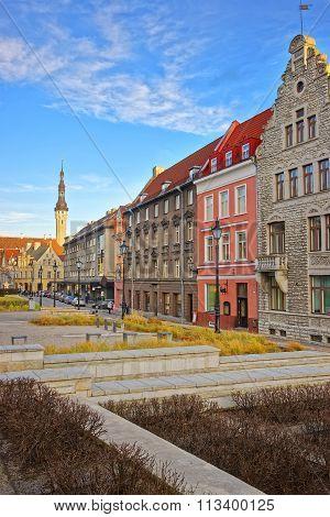 TALLINN ESTONIA - DECEMBER 28 2011: Street view to the Town Hall in the Old city of Tallinn in Estonia in winter