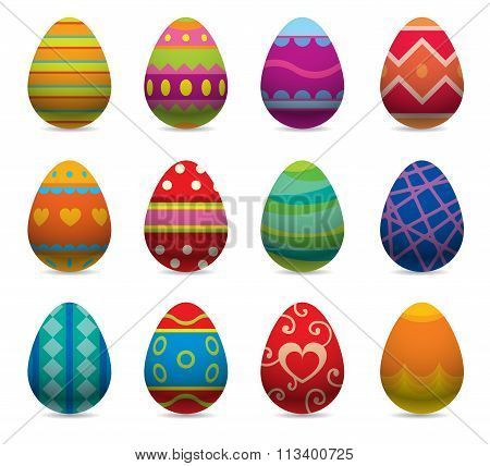 Easter eggs vector flat syle icons isolated on white background