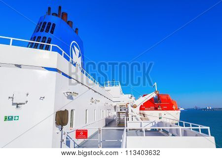 DOVER, ENGLAND - JULY 10, 2015: on a DFDS ferry from Dover to Dunkerque. DFDS is Northern Europes largest shipping and logistics company. It was founded in 1866