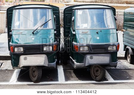 ROME - JULY 01: Piaggio Ape50 in a row on July 01, 2014 in Rome. Piaggio Ape is a three-wheeled light commercial vehicle first produced in 1948 by Piaggio.
