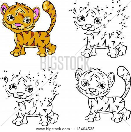 Cartoon Tiger. Vector Illustration. Coloring And Dot To Dot Game For Kids