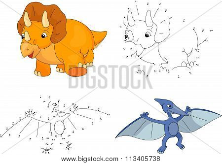 Cartoon Triceratops And Pterodactyl. Vector Illustration. Dot To Dot Game For Kids
