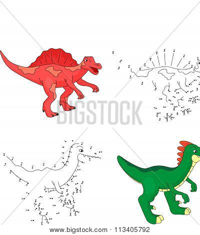 Cartoon Styracosaurus And Tyrannosaur. Vector Illustration. Dot To Dot Game For Kids