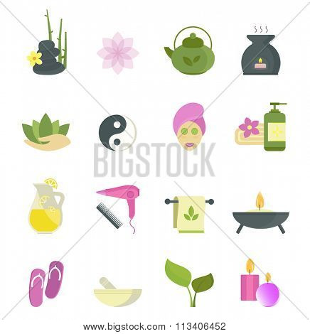 Spa beauty icons vector collection. Spa beauty vector icons isolated on white background. Spa skin face and body care icons. Nature spa care. Massage, spa, aroma icons. Spa procedure, spa massage