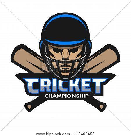 Cricket player and bats. Sport logo.