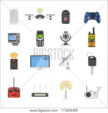 Smart house remote control electronic gadgets vector icons. Technology radio signal electronics multimedia devices. Everyday technology objects. Remote control gadgets. Radio control vector icons