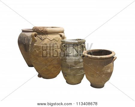 Ancient Clay Minoan Decorated Amphora Isolated