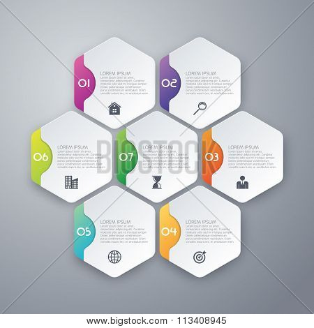 Vector illustration infographics of hexagons