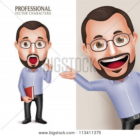 Funny Old Professor Teacher Man Vector Character Holding Book