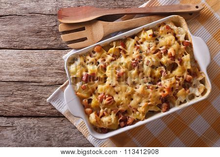 Tartiflette Potatoes With Bacon And Cheese Close Up Horizontal Top View