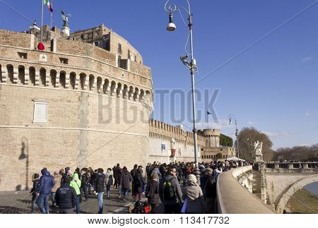 People Walking On Lungotevere Castello