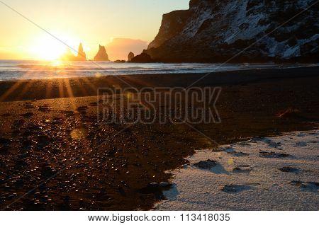 Sunset at Reynisdrangar