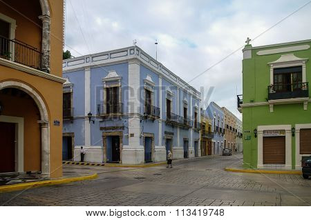 CAMPECHE, MEXICO -  01 january 2010: downtown street with typical colonial buildings in Campeche, Me
