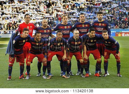 BARCELONA - JAN, 2: FC Barcelona lineup before a Spanish League match against RCD Espanyol at the Power8 stadium on January 2, 2016 in Barcelona, Spain