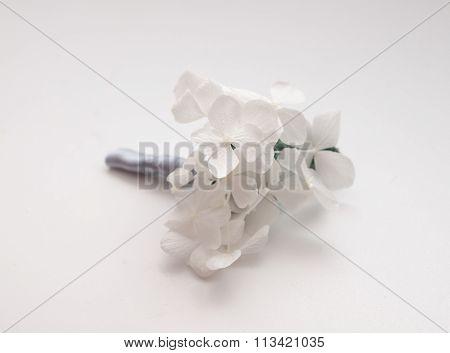 Minimalistic white hydrangea wedding buttonhole