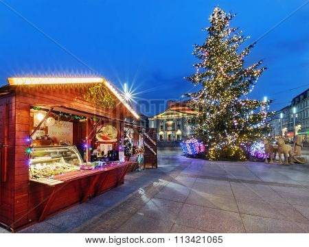 Traditional Street Market And Christmas Tree In Katowice