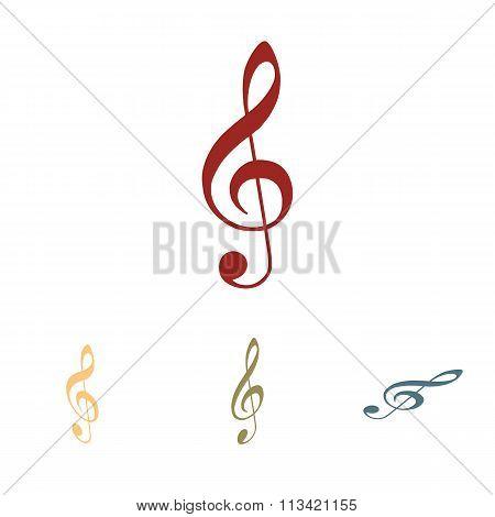 Violin clef icon set