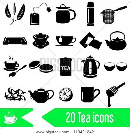 Tea Theme Black Simple Icons Set Eps10