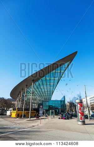 HAMBURG, CITY - MARCH 09: central bus station with unidentified people on March 09, 2014 in Hamburg. The designers and developers of the modern station obtained an award of the IABSE.