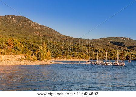 Lakeside Of Sainte Croix Du Verdon During Sunset