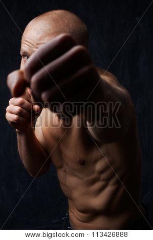 Fighter Man Hit Jab