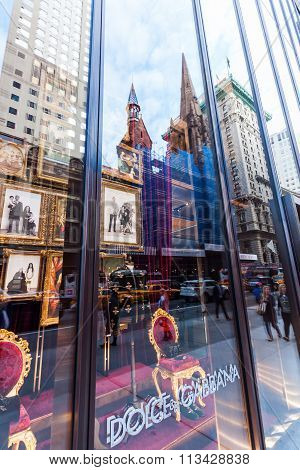 NEW YORK CITY - OCTOBER 07, 2015: Dolce and Gabbana store at 5th Avenue with unidentified peopple. Dolce and Gabbana founded in 1985 in Legnano by Italian designers Domenico Dolce and Stefano Gabbana