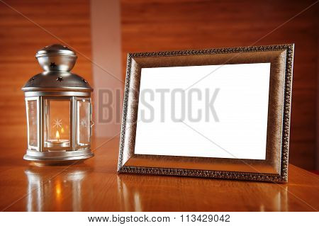 Festive Frame And Candlestick With Burning Candle