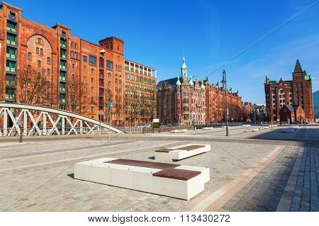 HAMBURG, GERMANY - MARCH 10: Speicherstadt with unidentified people on March 10, 2014 in Hamburg. The Speicherstadt in Hamburg is the largest timber-pile founded warehouse district in the world.