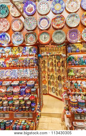 ISTANBUL, TURKEY - APRIL 10, 2015: in the Grand Bazaar of Istanbul. It is one of the largest and oldest covered markets in the world, with 61 covered streets and over 3,000 shops
